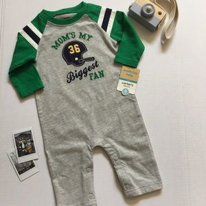 4/$25 Carter's Onesie Romper Football Embroidered